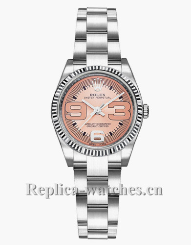 Replica Rolex Oyster Perpetual 176234  Steel & White Gold Bezel 26mm Pink Dial Lady's Watch