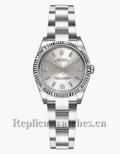 Replica Rolex Oyster Perpetual 176234 Oyster Bracelet 26mm Silver Dial Lady's Watch