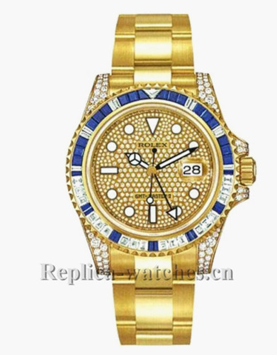 Replica Rolex GMTMaster II 116758  40mm Pave Dial Set with Diamonds Mens Watch