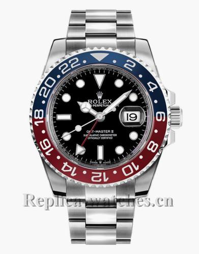 Replica Rolex GMT Master II  126710BLRO Steel Oyster Bracelet 40mm Black Dial Men's Luxury Watch