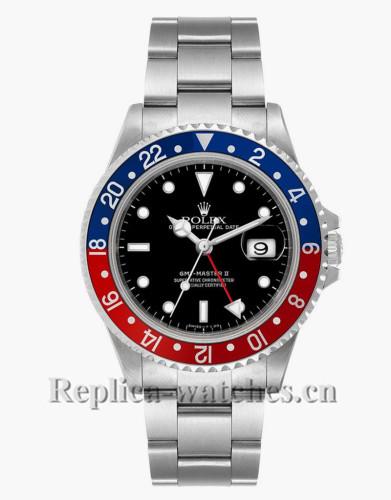 Replica  Rolex GMT Master II 16710  Steel Oyster Bracelet Black Dial 40mm Men's Watch