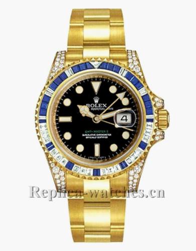 Replica Rolex GMT Master II 116758 Oyster Bracelet 40mm Black Dial Men's Watch