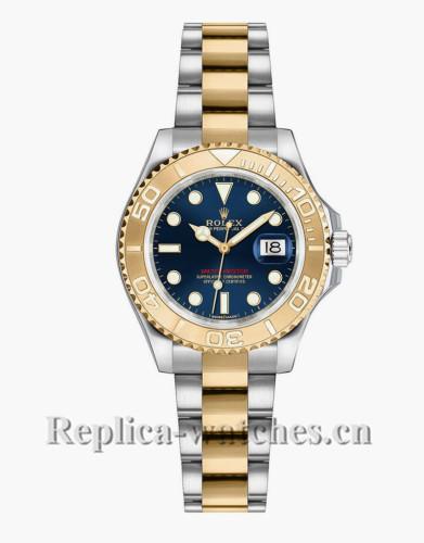 Replica Rolex Yacht Master 169623 Oyster Bracelet Blue Dial 29mm  Lady's Watch