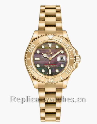 Replica Rolex Yacht Master 169628 Mother of Pearl Black Dial 29mm Lady's Watch