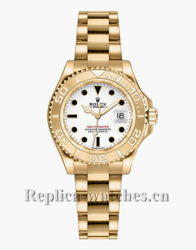 Replica Rolex Yacht Master 169628 Stainless Steel Case 29mm White Dial  Lady's Watch