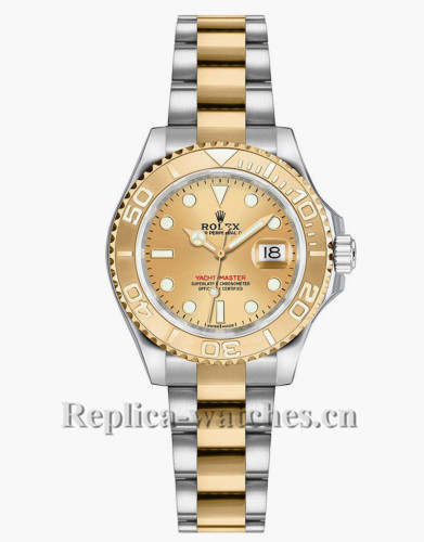 Replica Rolex Yacht Master 169623 Oyster Bracelet 29mm Champagne Dial Lady's Watch