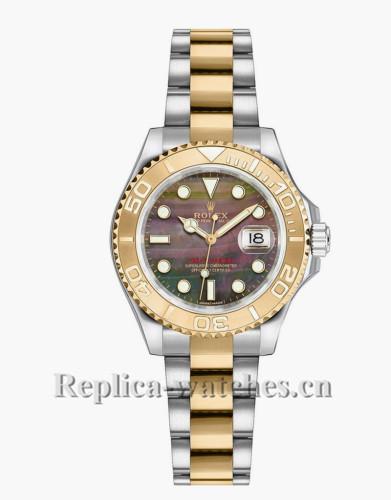 Replica Rolex Yacht-Master 169623 Oyster Bracelet Black Dial 29mm  Lady's  Watch