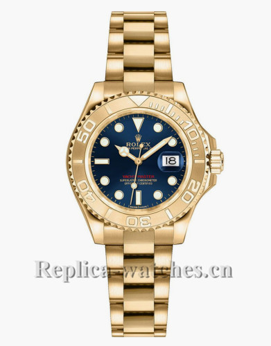 Replica  Rolex Yacht Master 169628  Oyster Bracelet Blue Dial 29mm  Lady's  Watch