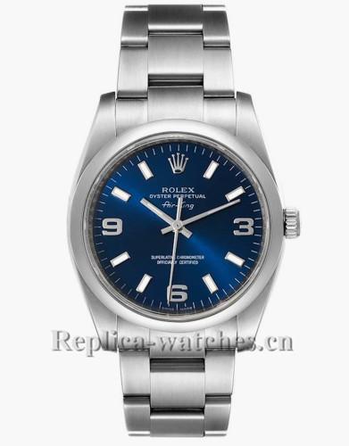 Replica  Rolex Air King 114200 Smooth Bezel 34 Blue Dial Unisex Watch