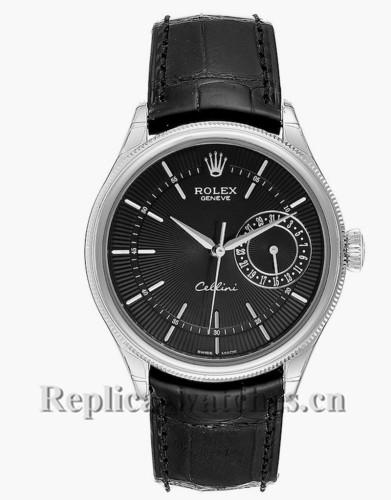 Replica Rolex Cellini Date 50519 Black alligator leather strap 39mm Automatic Mens Watch