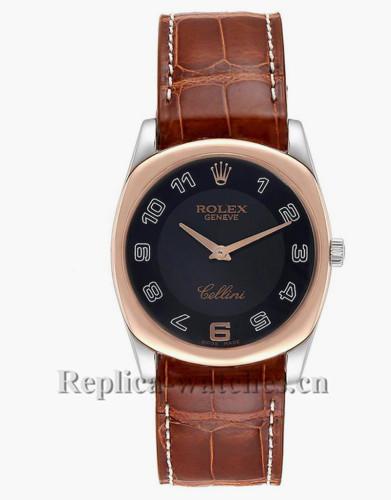 Replica Rolex Cellini 4233 Black dial Brown leather strap 34mm  Mens Watch