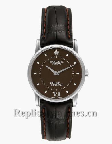Replica Rolex Cellini  5116  Custom brown leather strap Brown Dial  Mens Watch