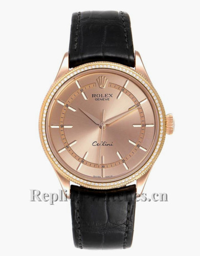 Replica Rolex Cellini 50705 Black alligator leather strap 39mm Pink dial Mens Watch