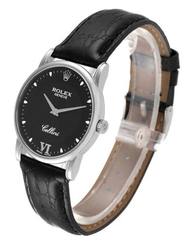 Replica Rolex Cellini Classic 5116 black leather strap Black Dial  Mens Watch