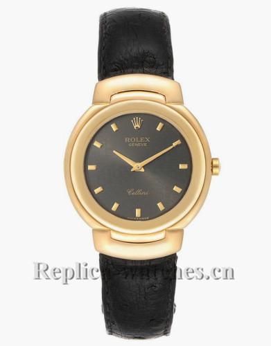 Replica Rolex Cellini 6622 Black leather strap Grey Dial 33mm  Mens Watch