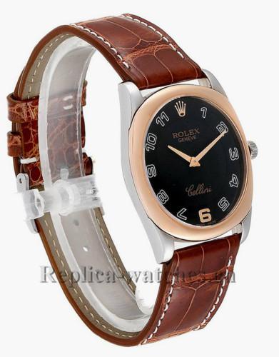Replica Rolex Cellini  4233 Brown leather strap  43mm Black dial  Mens Watch