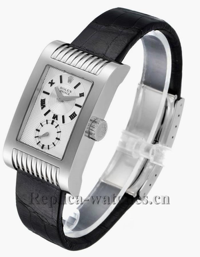 Replica Rolex Cellini Prince 5441 Black crocodile strap Silver Dial Mens Watch