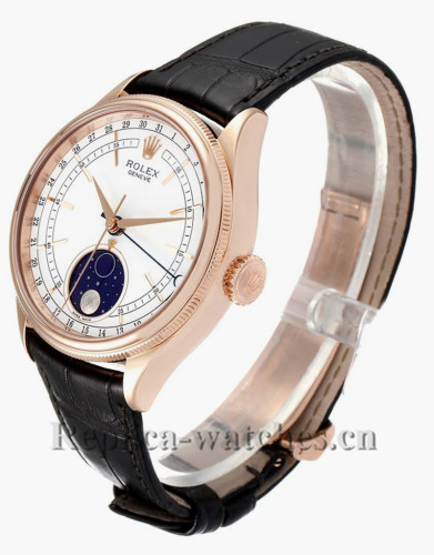 Replica Rolex Cellini 50535 Black leather strap White laquer dial 39mm Automatic Mens Watch
