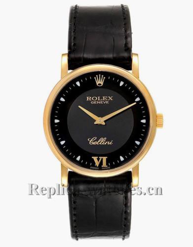 Replica Rolex Cellini 5115 Black leather strap  Black Dial Movement Unisex Watch