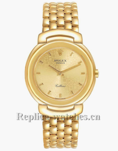 Replica Rolex Cellini 6622 Scratch resistant Champagne Anniversary Dial 33mm Mens Watch