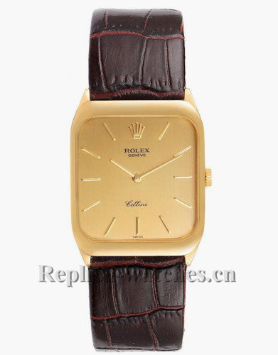 Replica  Rolex Cellini 4135  brown leather strap Champagne dial Mens Vintage Watch