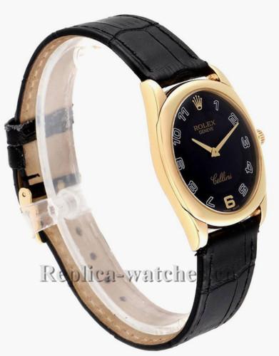 Replica Rolex Cellini 4233  Black leather strap 34 mm Black Dial Mens Watch