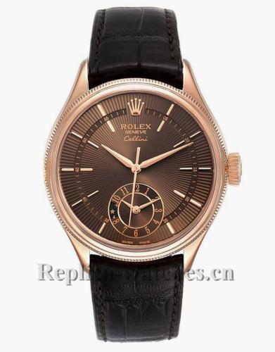Replica  Rolex Cellini Dual Time  50525 Brown alligator strap guilloche dial 39mm Mens Watch