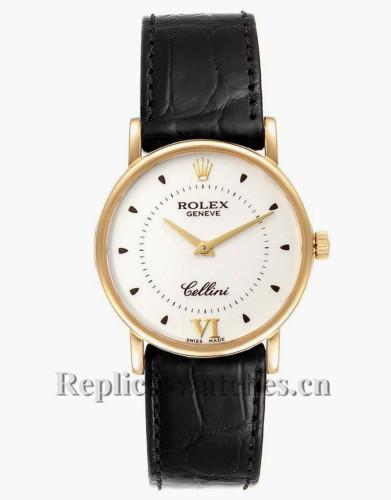 Replica Rolex Cellini  5115 Silver Dial  Black crocodile leather strap  Mens Watch