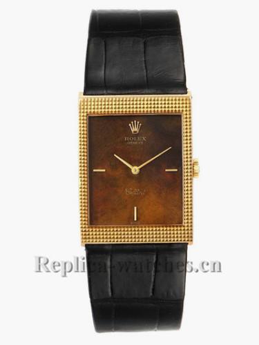Replica Rolex Cellini 4127 Black leather strap Wooden Dial Vintage Mens Watch