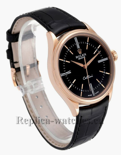 Replica Rolex Cellini Time 50505 Black alligator leather strap Black Dial 39mm Mens Watch