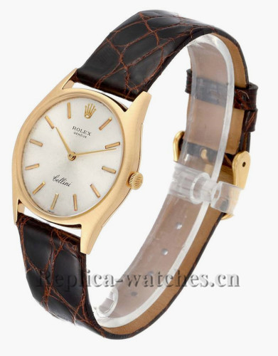 Replica Rolex Cellini 3804  brown leather strap Silver Dial Vintage Mens Watch