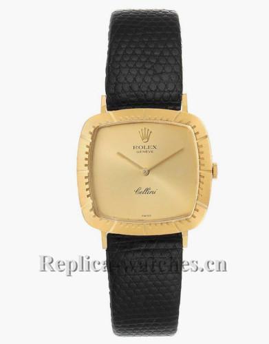 Replica Rolex Cellini 4048 black leather strap Champagne dial  Mens Vintage Watch