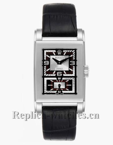 Replica Rolex Cellini Prince 5443 Black leather strap Black and silver dial Mens Watch