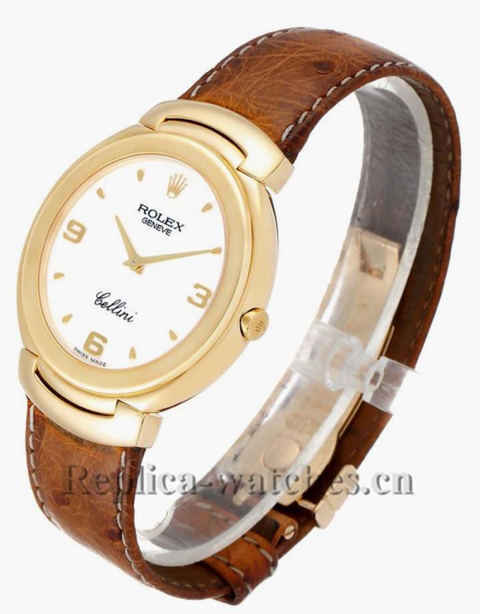 Replica Rolex Cellini 6623  Brown leather strap White Dial 37.5mm Mens Watch