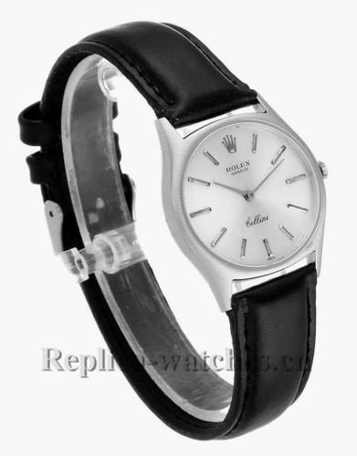 Replica Rolex Cellini  3806  black leather strap Silver Dial Vintage Mens Watch