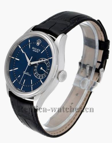 Replica Rolex Cellini Date 50519  Blue alligator leather strap  Blue Dial 39mm Mens Watch