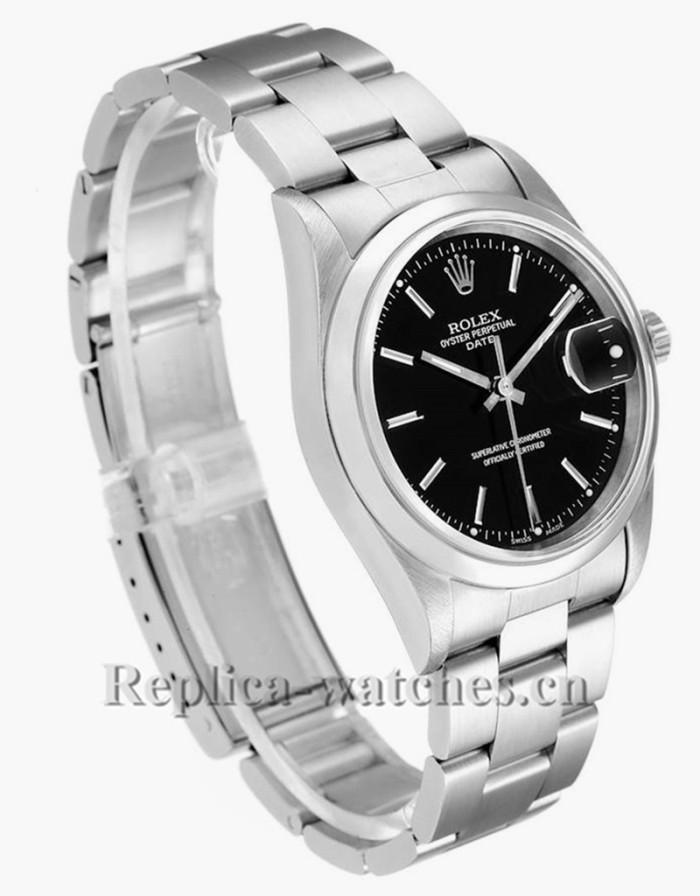 Replica Rolex Date 15200  Black Dial Oyster Bracelet Steel 34mm Mens Watch