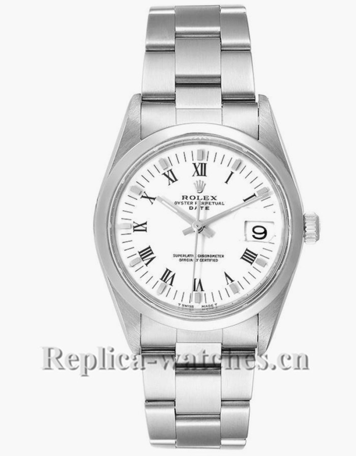 Replica Rolex Date 15200 White Dial Oyster Bracelet Steel 34mm Mens Watch