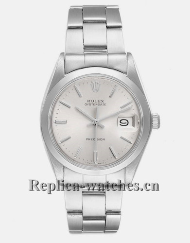 Replica Rolex OysterDate Precision 6694 Stainless steel oyster bracele Silver Dial 35mm Mens Watch
