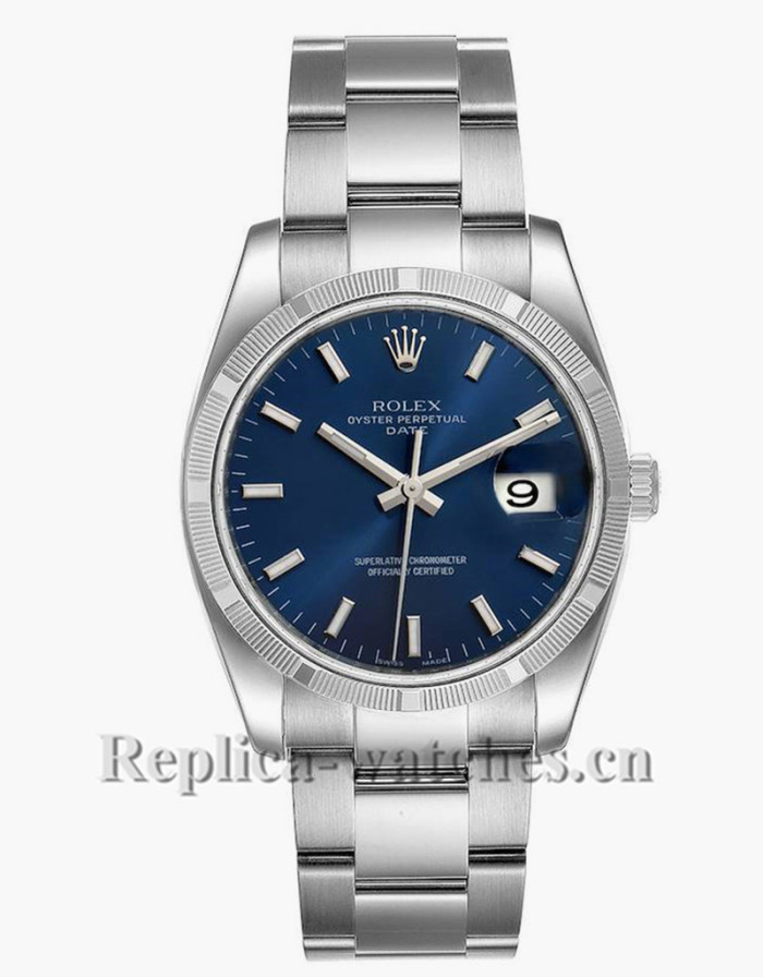 Replica Rolex Date 115210  Blue Dial steel Oyster Bracelet  34mm Automatic Mens Watch Box Papers