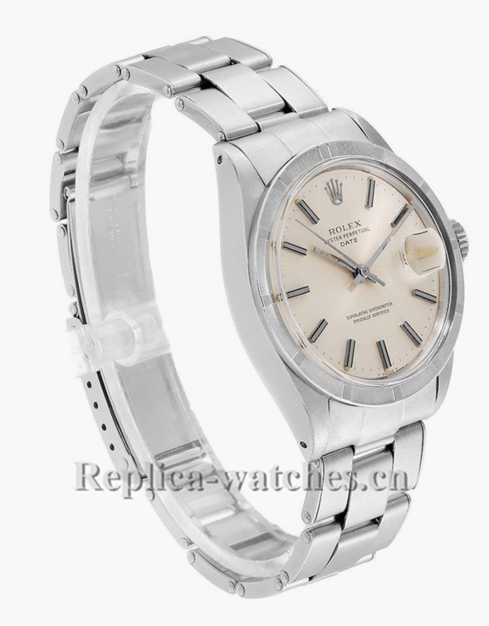 Replica  Rolex Date 1501 Stainless Steel Silver Dial 34mm Vintage Mens Watch