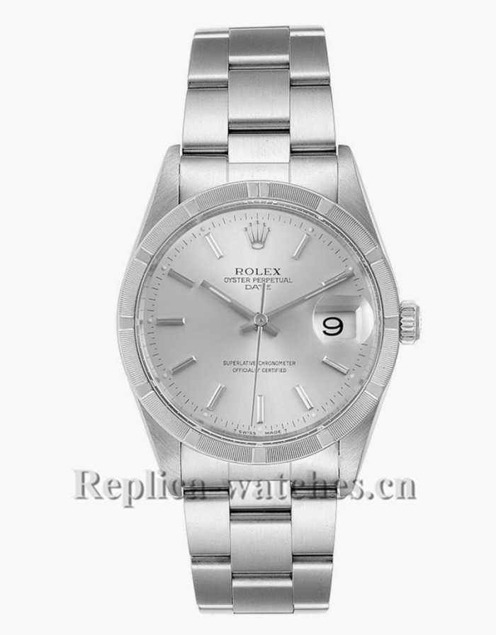 Replica Rolex Date 15210 Silver Dial Oyster Bracelet Steel 34mm Mens Watch  Box Papers