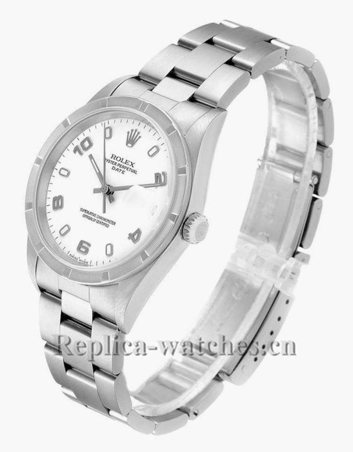 Replica Rolex Date 15210 White Dial Engine Turned Bezel Steel 34mm Mens Watch  Box