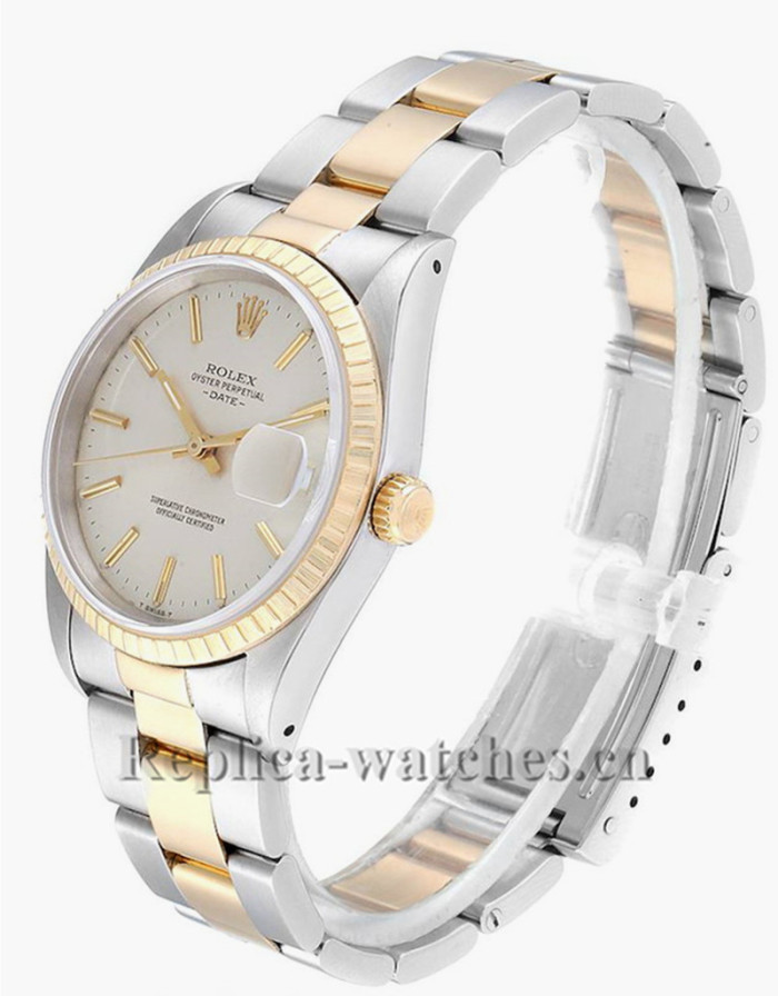 Replica  Rolex Date 15223  Stainless steel Silver Dial 34mm Mens Movement Watch