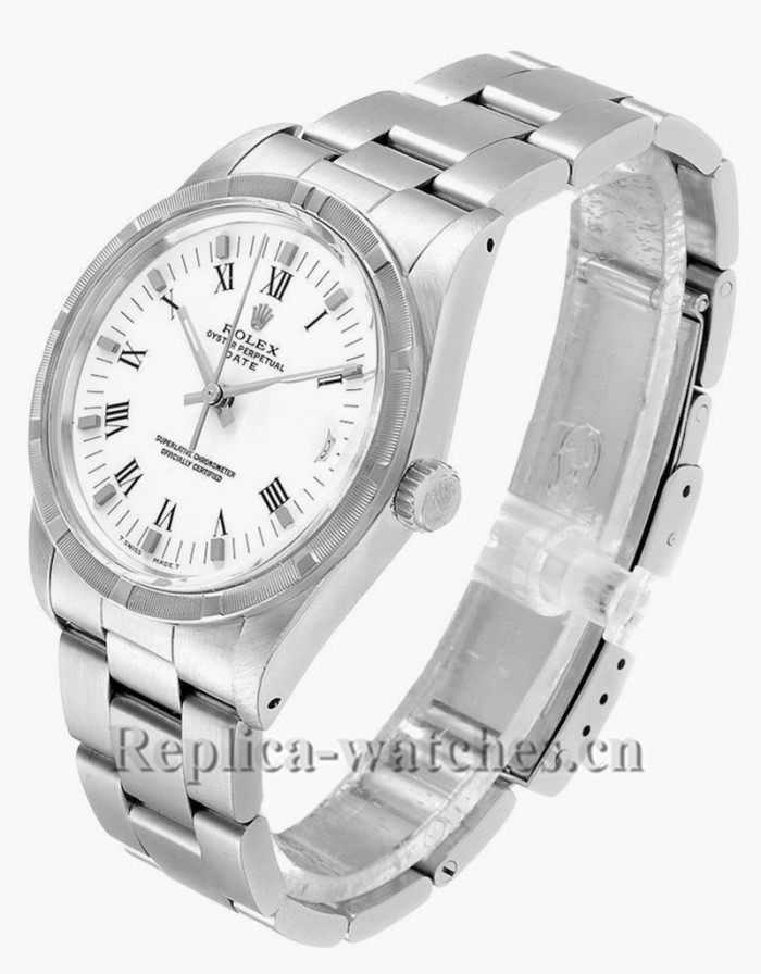 Replica Rolex Date 15010 Stainless Steel Silver Dial 34mm Vintage Mens Watch  Box