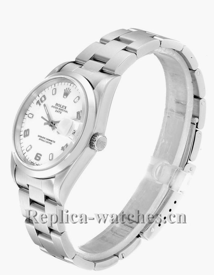 Replica Rolex Date 15200 White Dial Oyster Bracelet Steel 34mm Mens Movement Watch
