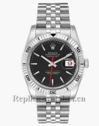 Replica Rolex Datejust 116264 Stainless steel case 36mm Black Dial Mens Watch