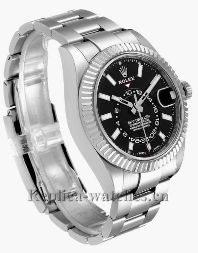 Replica Rolex Sky-Dweller 326934 Stainless steel case 42mm Black Dial Mens Watch