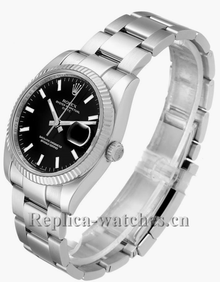 Replica Rolex Date 115234  Stainless steel case  Black Dial  34mm  Mens Watch
