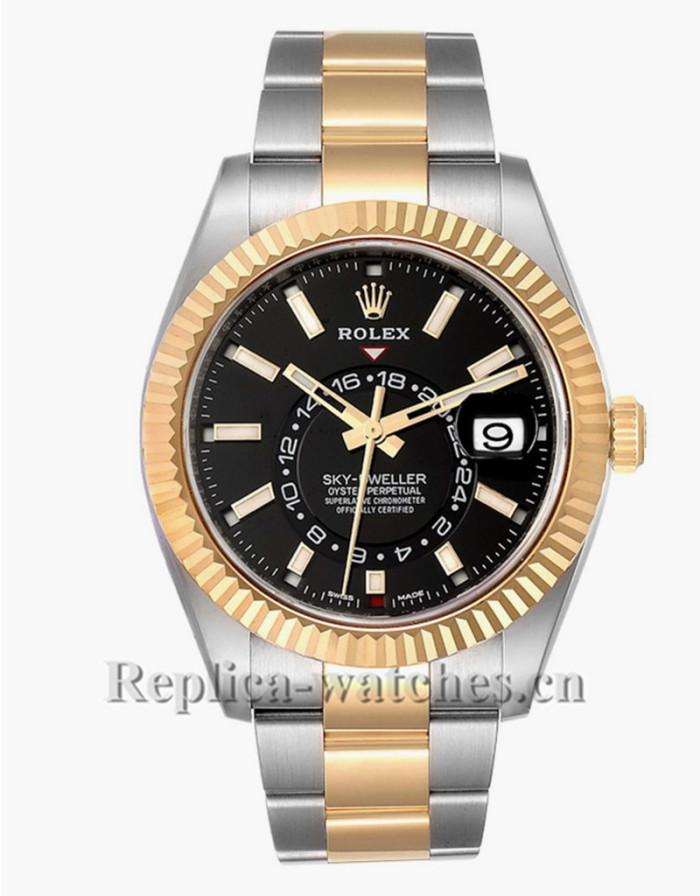 Replica Rolex Sky Dweller 326933  Stainless steel Black Dial  42mm Mens Watch Unworn